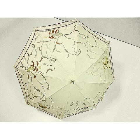 カサブランカの日傘(きなり色・ドット柄布付き)