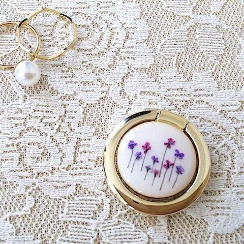 お花畑のスマホリング(purple) バンカーリング