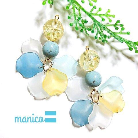 《送料無料》manico/5色の花びら イヤリング ピアス