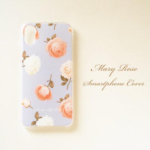 受注制作 Mary Rose スマホカバー 多機種対応 ブルー 青 花 バラ ハード ソフト iPhone 13 12 mini Pro Max SE2 11 XS Android