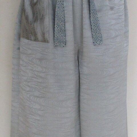 5891 花柄の着物で作ったワイドハーフパンツ #送料無料