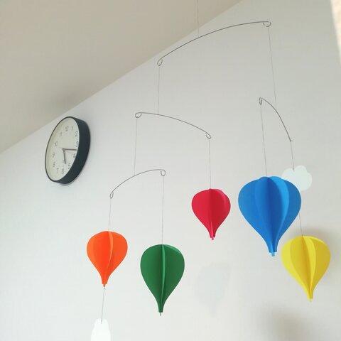ハンドメイド ペーパー モビール カラフル 気球 インテリア リビング 子供部屋