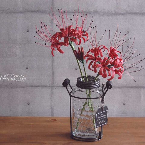 ◆粘土のお花◆ ヒガンバナ(彼岸花)をアイアンボトルに飾って・・・ 高さ約36センチ H552