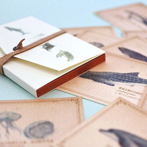 ちょっと大きめ*海の生き物たちのメッセージカード(専用ケース付き)
