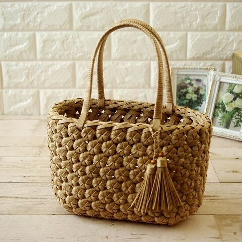 選べる8色!浴衣に!Sサイズ 花編みのクラフトカゴバッグ