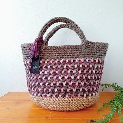 【新作・1点物】スモーキーカラー 毛糸のバッグ
