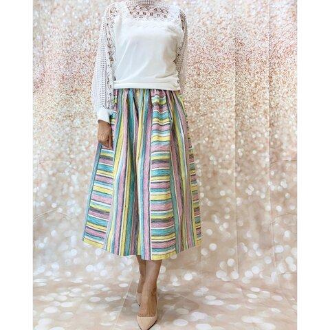 スゥイートリー*オールシーズンOK綿麻ブライトカラースリーストライプの合わせスカート By *花織*[]1769G1