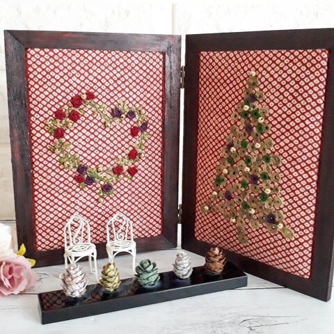 和の冬飾り✨ 小さな椅子の物語り (クリスマス、お正月)