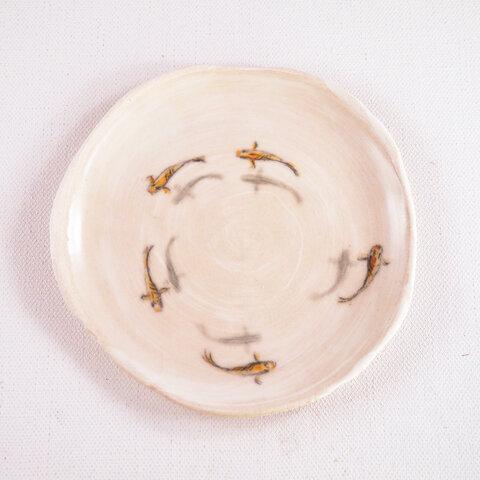 陶板画-メダカの群泳-下絵付けによる風物画
