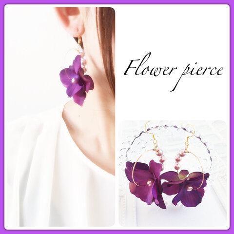 紫陽花♡フラワーフープピアス♡イヤリング♡ノンホールピアス