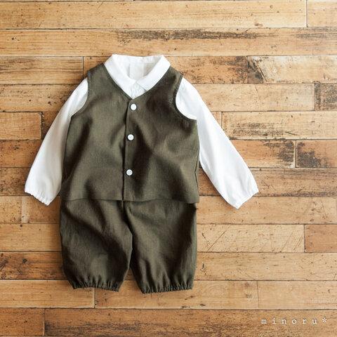 コットンリネン カーキグリーン ベスト スーツ(70-130)|前後2way【受注製作】 |minoru*