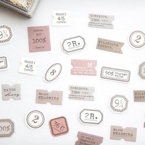 海外素材紙 ミニラベル pink 45枚