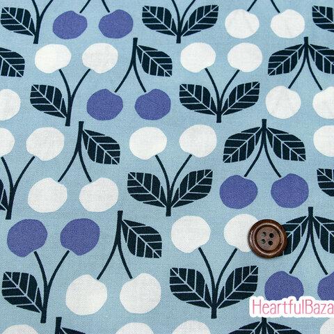 USAコットン(110×50) COTTON+STEEL Under the Apple Tree さくらんぼ ブルー 生地 布