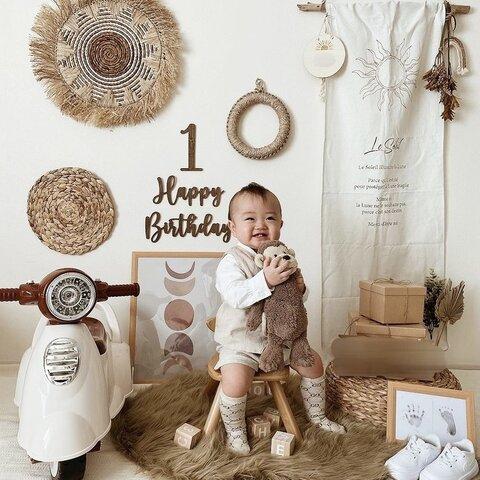ハッピーバースデー + 数字 1点セット 木製 レターバナー 誕生日 出産祝い ねんねアート ベビーフォト