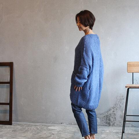 手編みモヘアロングセーター ブルー