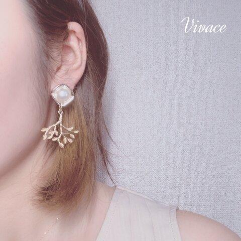perl leaf earring
