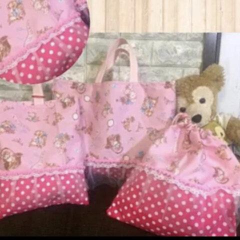 レッスンバッグ 猫 お花 3点セット ☆ 入園入学 シューズバッグ 巾着袋 通園