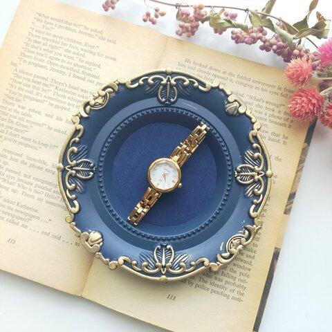 〜アンティークアクセサリートレー ブルー〜 リングピロー ジュエリーボックス アクセサリーケース アクセサリー収納 額縁 フレーム ジュエリーケース ディスプレイ アクセサリースタンド 時計