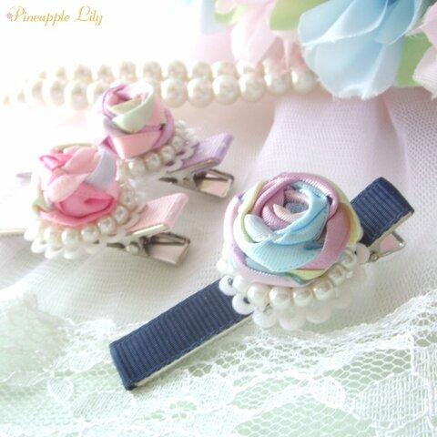 【キット】薔薇のヘアクリップ手作りキットꕤ三つ編みレッスンもできちゃう♪ロケちゃんシリーズ