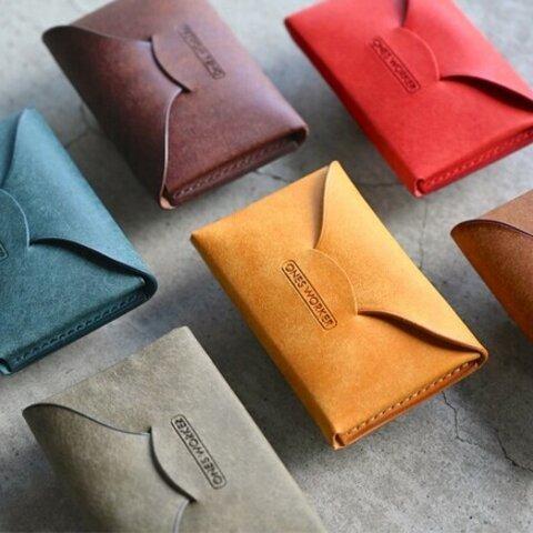 【カラーオーダー】プエブロ手縫い名刺入れ■ビジネスカードケース■全6色からお好きな色で 名入れ可能