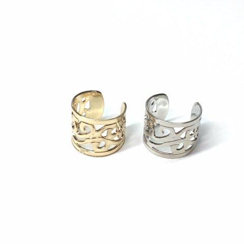 【金銀2個セット】ボタニカル模様が綺麗なイヤーカフ チャーム、チェーンでオリジナルに♪ブラック追加!