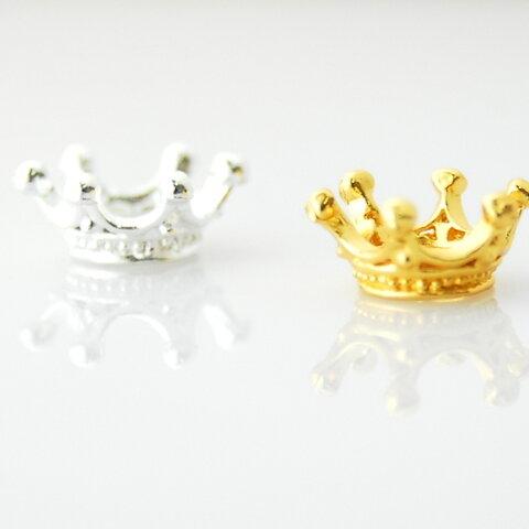 王冠   【ゴールド10個】 ミルククラウンチャームパーツ ハンドメイド ゴールド シルバー クラウン