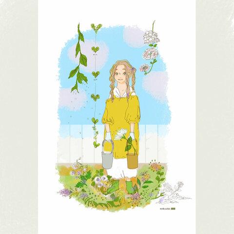 「GARDEN GIRL」ほっこりA4ポスター(ガーデイングのイメージ)