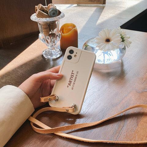 【受注生産】斜め掛け ヌメ革 レザー 本革 ショルダー ロングストラップ付 iPhone13/12/11/XS/X/8/7/SE他 iphoneケース スマホケース/アイフォンケース (取り外し可能)