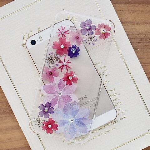 【#295】*送料無料 *押し花スマホケース*iPhoneケース押し花*koko*紫陽花