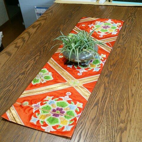 帯リメイク 祝い袋帯でテーブルランナー
