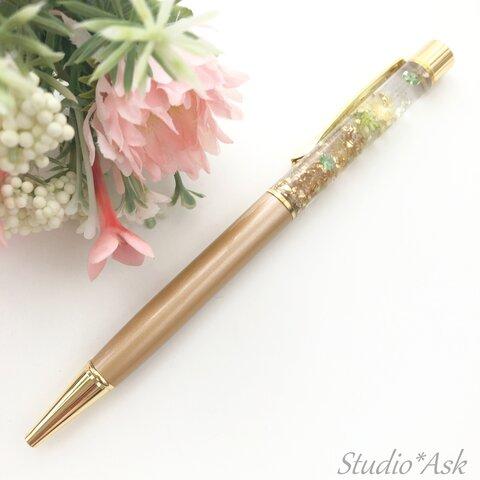 《受注作製》花、葉&キラキラビジュー入りボールペン ベージュ&ゴールドグラデーション 替え芯1本付き