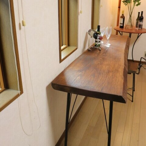 w1700弱 ヒノキ一枚板 カウンターテーブル ダイニングテーブル お店 店舗什器 テレワーク 在宅勤務 カフェ