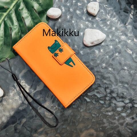 カエル iphone13Pro/XR/8 13 12 iphoneケース高品質 カードの手帳  GalaxyS10 手帳型スマホケース オレンジ