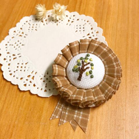 さんかくな木刺繍ミニロゼット