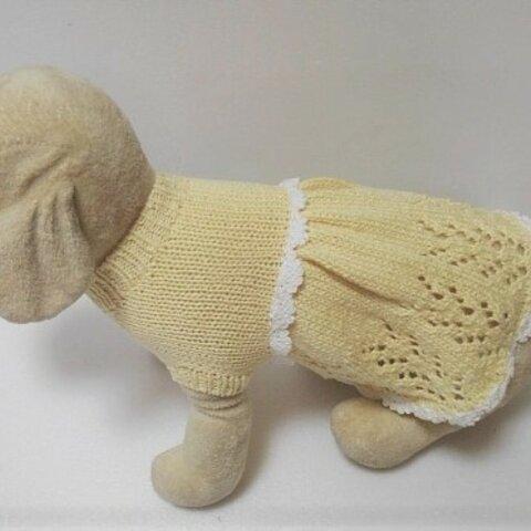黄色のドレス風夏セーターで白のウエストのかぎ針編みが素敵です(3S-1897)
