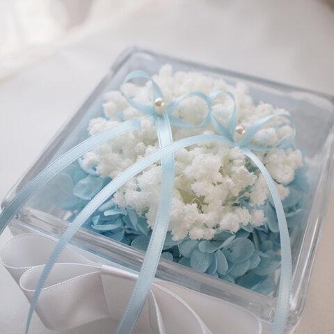 花言葉は「幸福」かすみ草のリングピロー~ブルー~