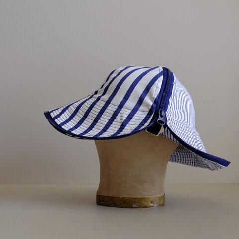 新作・帽子 / チューリジップキャップハット / コットン シャンブレー / 紺ジップ【 白紺2種ストライプ 】hat / zip cap hat