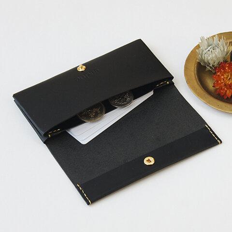 送無!カードケース / ブラック(イタリア産牛革)幅が広いのでコインケース・小物入れにも使えます◎caduc