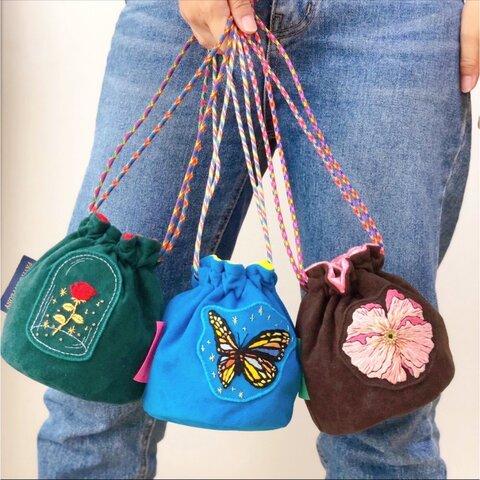 巾着バッグ ミニ バケツ型バッグ 丸底 ポシェット 刺繍バッグ