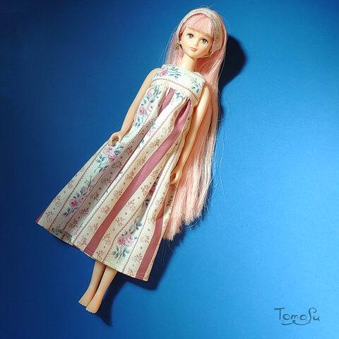 【22cm・27cmドール服】花柄ムームーセット(クラシックレッド)