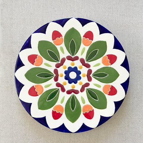 スペインタイルアート:赤い実のお皿(L)