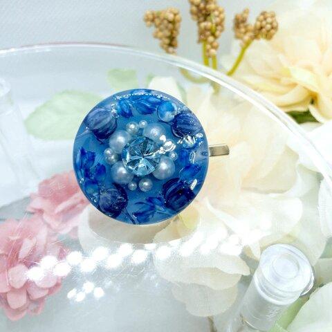 ■くすみブルーのまあるいポニーフック1■レジンハンドメイド 057