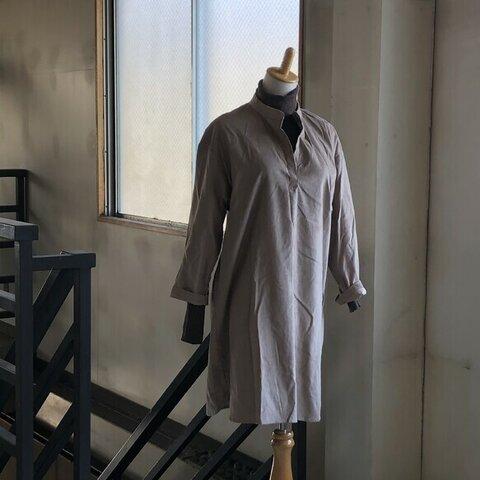 【秋冬特集】大人細畝コーデュロイプルシャツ*ピンクベージュ