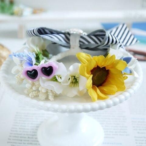 ひまわり花冠Ver.1(パープルサングラス) うさぎ花冠  Sサイズ  ペット