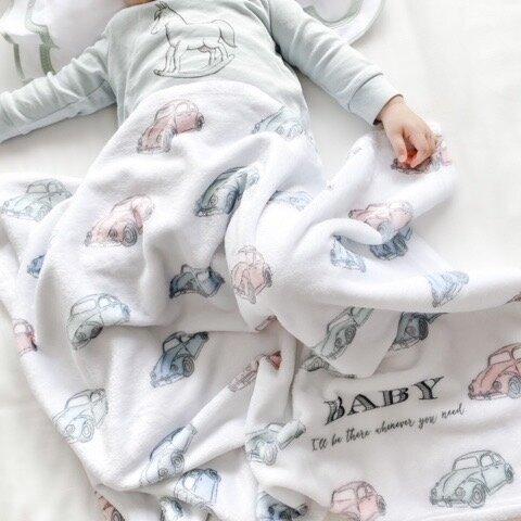 【blanket】くるま柄ブランケット*名入れ*出産祝い*受注生産