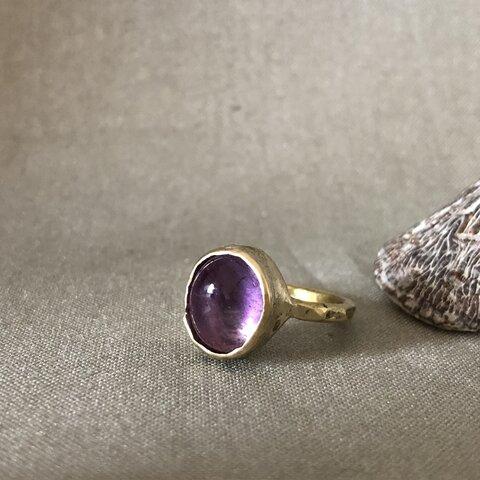 アメジストと真鍮の指輪