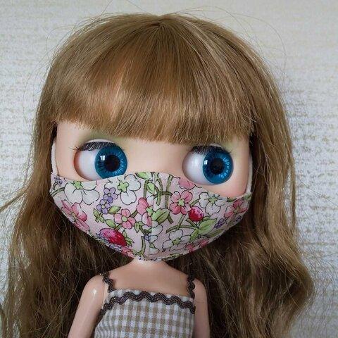 ブライス用 立体マスク YUWA生地 花柄 苺柄 ピンク