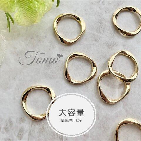 ◆大容量◆【約100個】21mm  ゴールド  ねじれサークル  ラウンド型パーツ♡ #60002