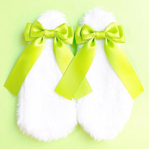 うさ耳リボン♡黄緑色 量産型 地雷系 コスプレ メイド服 ヘアアクセサリー ヘアクリップ 病みかわいい ゆめかわいい ロリータ ふわふわ プレゼント ギフト うさぎ ウサギ 垂れ耳 プレゼント