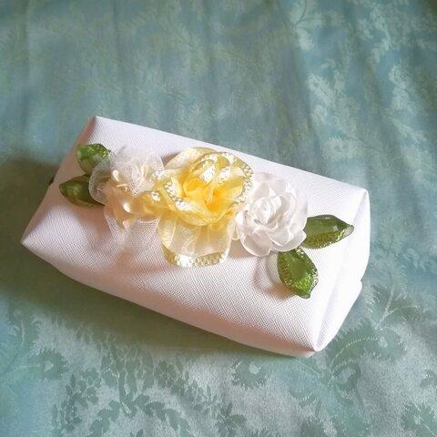 爽やかwhite リボンローズ お花 化粧ポーチ ボックス
